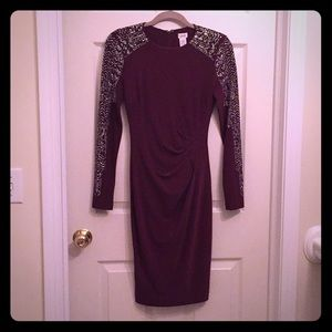 NWOT Cache Maroon Dress with Beading (Size 2)